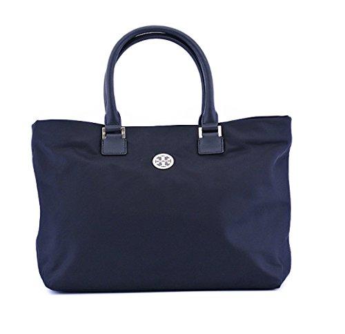 Tory Burch Logo Nylon Dena Tote Handbag Normandy Blue Large Bag
