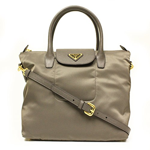 Prada BN2106 Fumo Tessuto Saffian Grey Nylon and Leather Shopping Zip Top Tote