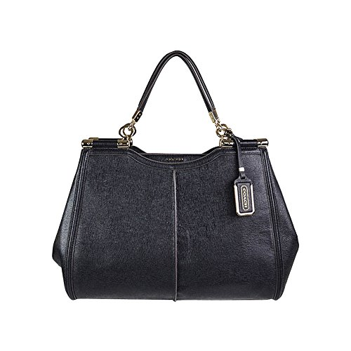 Coach Madison Caroline Satchel in Textured Leather BLACK