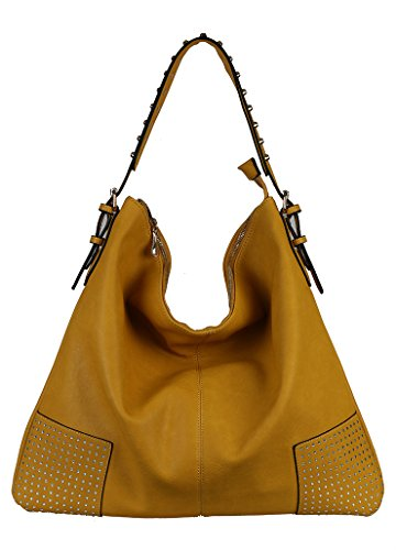 Diophy Studded Shoulder Strap Slouchy Hobo Hand Bag