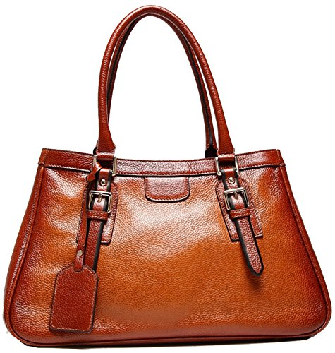 Heshe Cowhide Top Layer Soft Leather Vintage Top-handle Shoulder Travelling Business Handbag