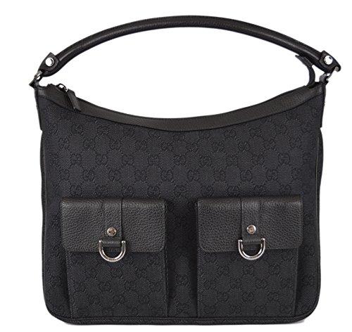Gucci Women's 293581 Black Denim GG Guccissima Abbey Pockets Purse