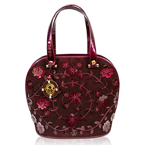 Valentino Orlandi Italian Designer Burgundy Embroidered Suede Large Purse Bowling Bag