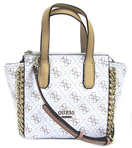 GUESS Confidential Logo Chain Mini Tote Bag, White