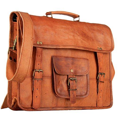 HandMadeCart Genuine Leather Messenger Satchel Shoulder Laptop Bag for Men and Women