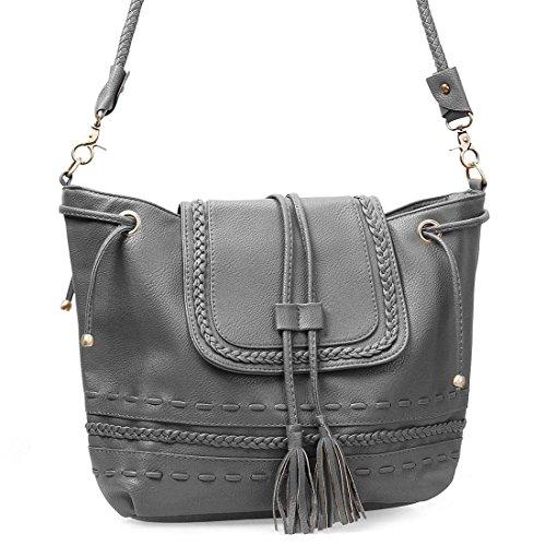 BMC Womens Large PU Leather Sack Style Rope Tassel Flap Fashion Shoulder Handbag