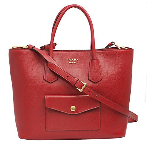 Prada Women's Red Saffiano Leather Tote Bag W/strap Bn2729