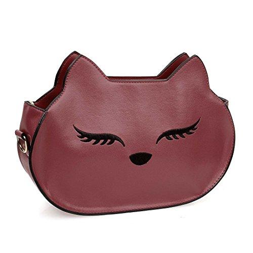 BMC Womens PU Faux Leather Fox Face Animal Theme Fashion Clutch Shoulder Handbag