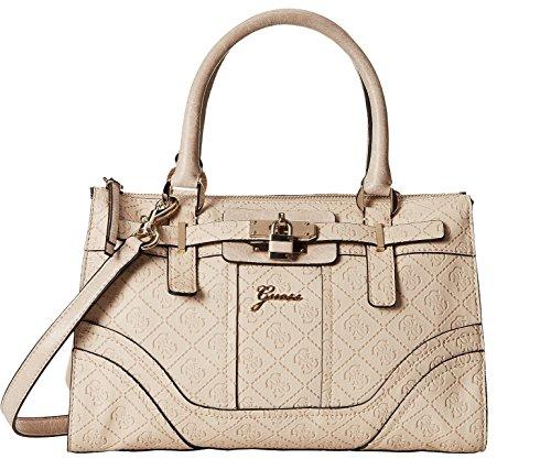GUESS Women's La Vida Logo Small Satchel Bag Handbag Tote (Nude)