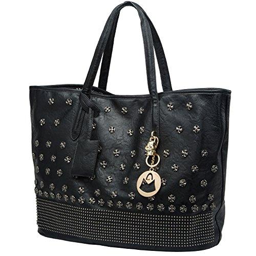 MG Collection DEINA Skull Cross Studded Black Weekender Tote Style Shoulder Bag