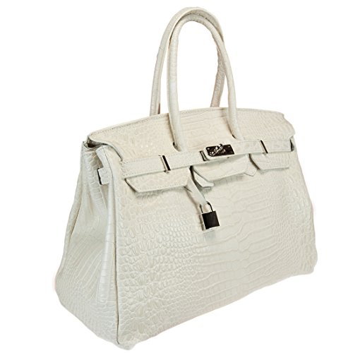 HS 5009-1 AV DAVINA COCCO Made in Italy Crocco Embossed Ivory Structured Satchel