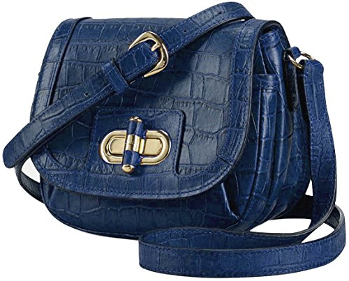 Lauren Ralph Lauren Croc embossed Leather LANESBOROUGH Crossbody Shoulder Bag