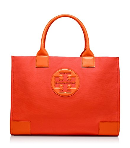 Tory Burch Dipped Canvas Ella Tote in Blood Orange