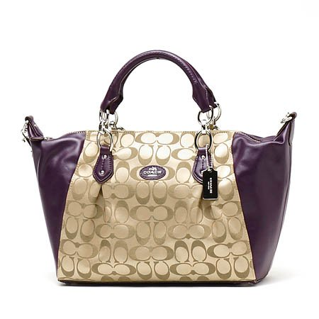 Coach Collette Signature Satchel Handbag Purse Khaki Violet F33804