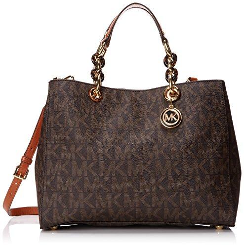 Michael Kors Cynthia Large Satchel Brown Mk Signature PVC Shoulder Bag