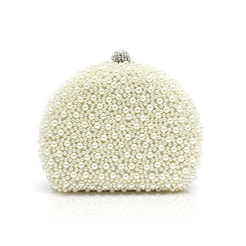 TopTie Dazzling Pearl Beaded Pave Minaudiere Clutch Hand Bag