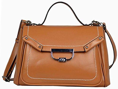 Heshe Women's Genuine Leather Doctor Style Tote Cross Body Shoulder Bag Handbag