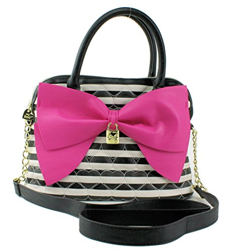 Betsey Johnson Be Mine Dome Satchel, Black White