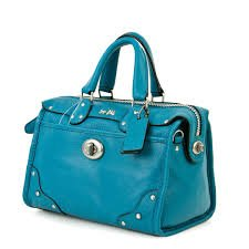 Coach Rhyder Mini Satchel in Leather Teal Blue 33690