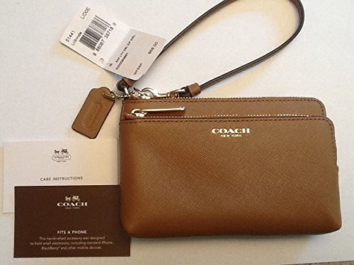 Coach 51441 Saffiano Leather Double L-zip Wristlet Brindle