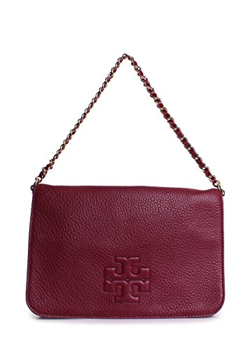 Tory Burch Thea Fold-Over Clutch Shoulder Bag Cabernet Leather