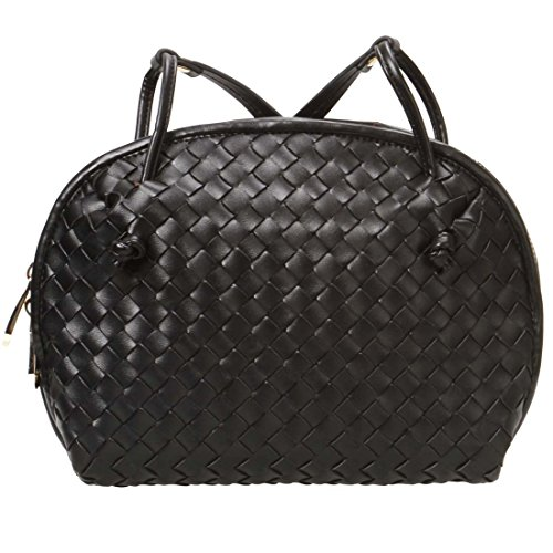 BMC Womens PU Faux Leather Small Woven Wallet Purse Fashion Shoulder Handbag