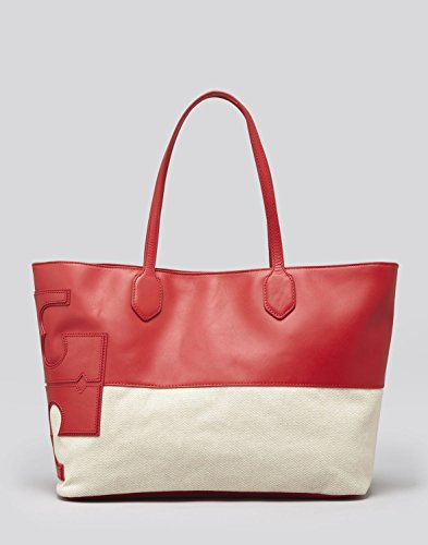 Tory Burch Stacked Two Tone East West Tote in Lobster Red & Natural