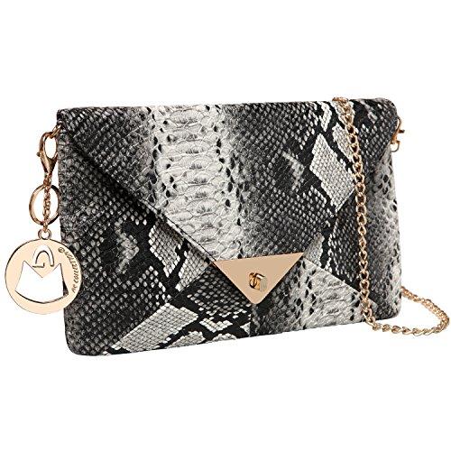 MG Collection ESCA Faux Snakeskin Embossed Satchel Shoulder bag / Evening Clutch
