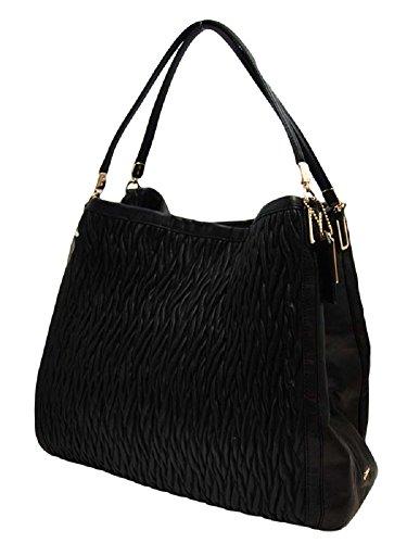 COACH Madison Gathered Twist Leather Phoebe Shoulder Bag in Light Gold / Black 25260