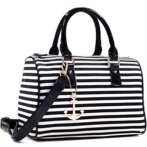 Dasein Anchor Canvas Striped Satchel Bag with Removable Shoulder Strap