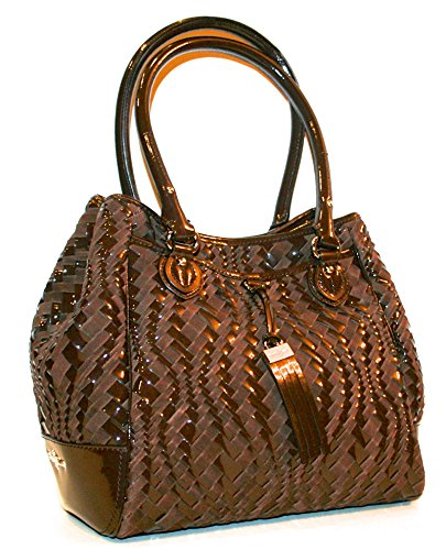 Cole Haan Handbag Chestnut Brynn Weave II Leather Triangle Tote Shopper Bag $398