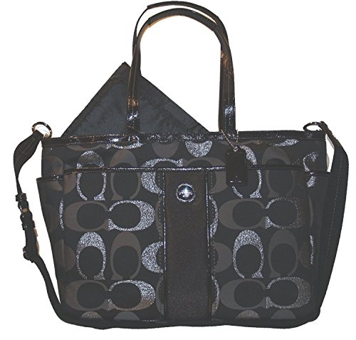 Coach Metallic Multifunction Baby Diaper Laptop Travel Convertible Messenger Shoulder Tote Bag Black