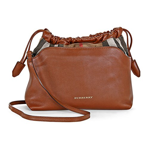 Burberry Little Crush Brown Leather Checked Canvas Shoulder Bag