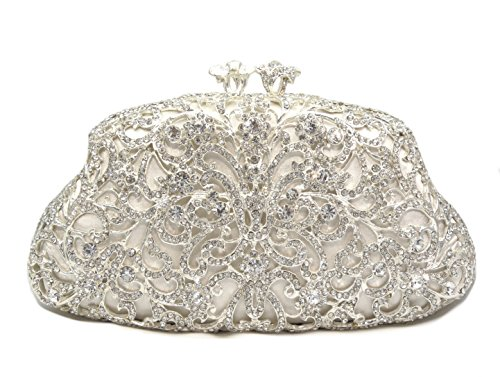 Filigree Luxury Multi Crystal Hard Case Evening Clutch Handbag with Detachable Chain, Silver