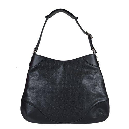 Gucci Women's Black Leather Guccissima Print Hobo Shoulder Bag Handbag