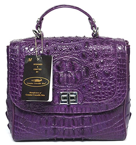 +ThaiPremiumHouse+100% HORNBACK SKIN GENUINE CROCODILE LEATHER HANDBAG CLUTCH BAG PURSE SHINY PURPLE SILVER LOCKED W/Strap