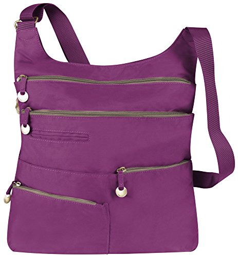 Travelon Large Multi Pocket Cross Body Bag Fuchsia