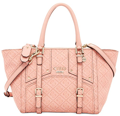 GUESS Rikki East West Status Satchel Logo Embossed, Pink / Coral