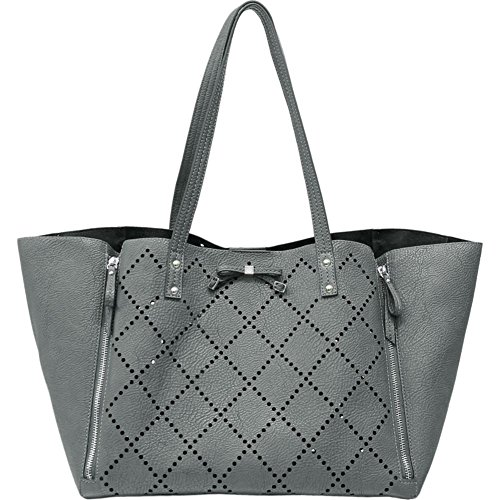 Jessica Simpson Lolita Perforated Tote with Removable Pouch (Slat Grey)