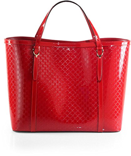 Gucci Handbag Red Nice Micro Guccissima Patent Leather Tote NEW