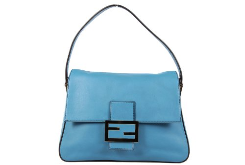 Fendi women's leather shoulder bag original big mamma blu