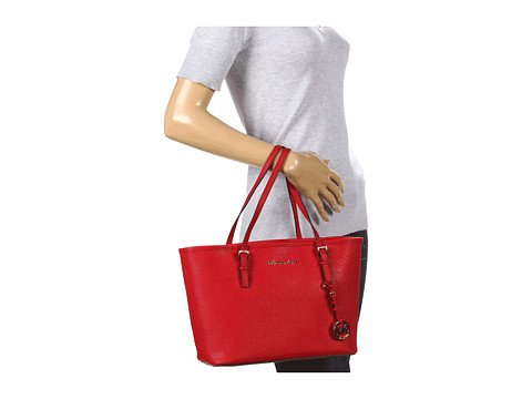 Michael Kors Small Jet Set Saffiano Travel Tote Red