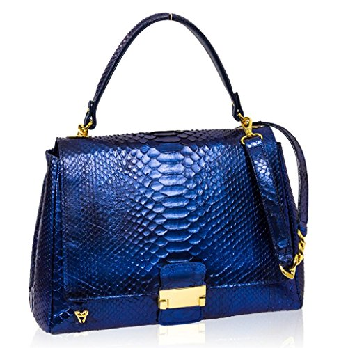 Ghibli Italian Designer Sapphire Blue Python Leather Top Handle Crossobdy Bag