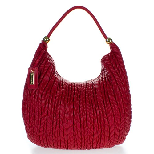 Paolo Masi Italian Made Red Quilted Lamb Leather Designer Shoulder Hobo Bag