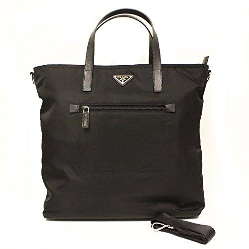 Prada B2530T Prada Nero Tessto Black Nylon and Leather Shopping Tote Bag