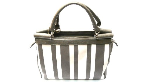 david collection High Quality Women Fashion Faux Leather Handbag Shoulder Purse / Bag (COLOR GRAY AND WHITE STRIPE-LS0015)