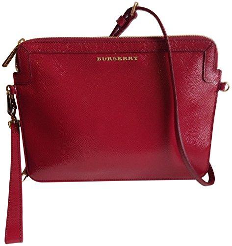 Burberry London Leather Lengham Ipad Tablet Crossbody Red