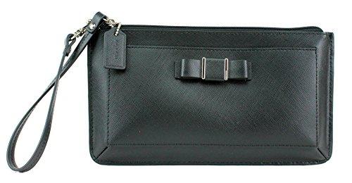 Coach Darcy Bow Large Black Saffiano Leather Wristlet