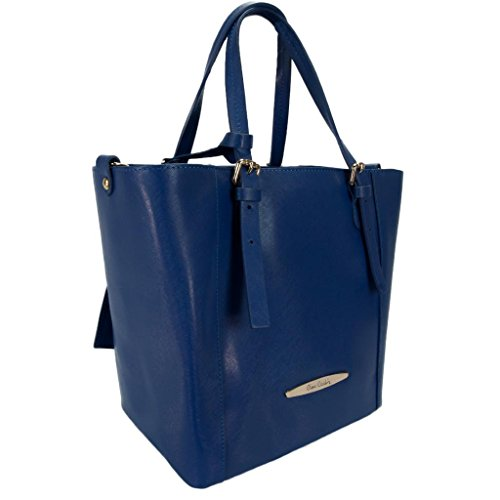 Pierre Cardin 1335 EBLU Made in Italy Electric Blue Leather Structured Tote/Shoulder Bag