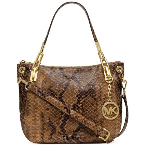 Michael Kors Brooke Medium Shoulder Sand Python Leather Tote Purse